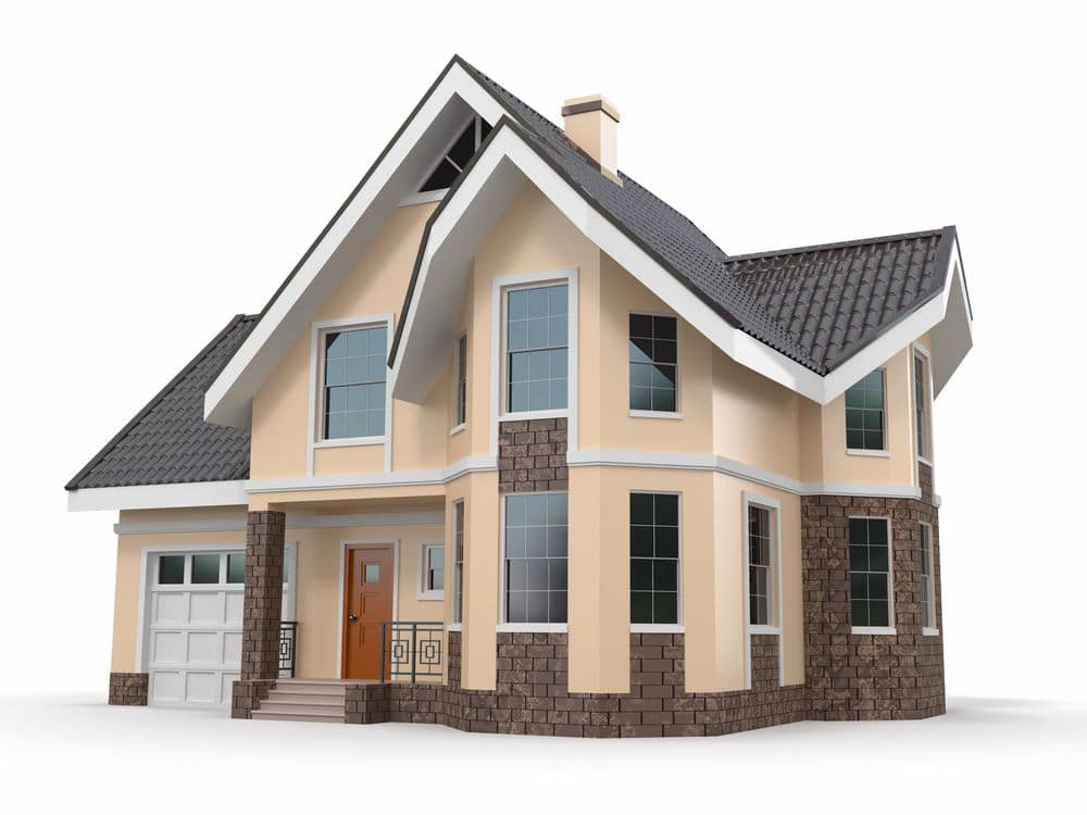 Brown Home that is set against a white background.