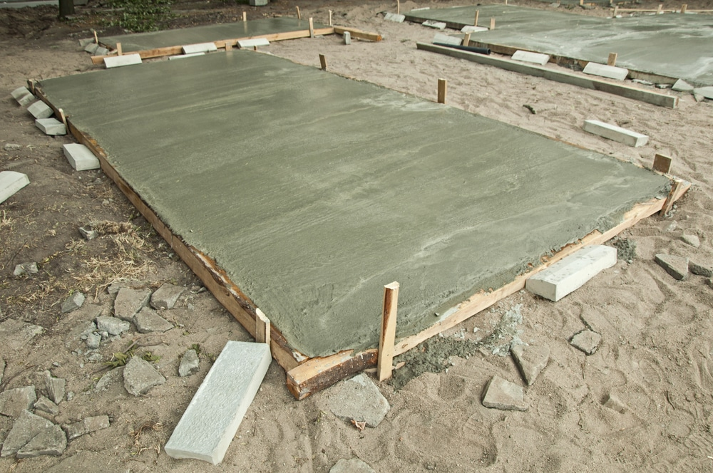 Freshly Poured Concrete Slab