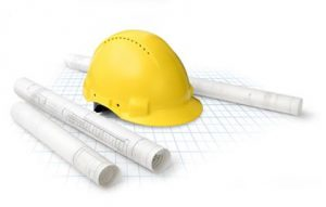 Construction Hat and Blueprints