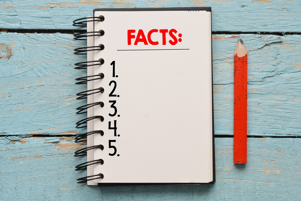 "Notebook that says ""Facts"""
