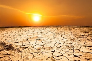 Sun over a parched desert